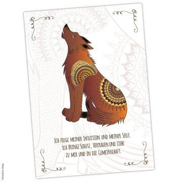 Krafttier-Karte Wolf Krafttier Wolf Karte