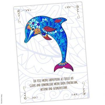Krafttier Delfin Karte und Affirmation
