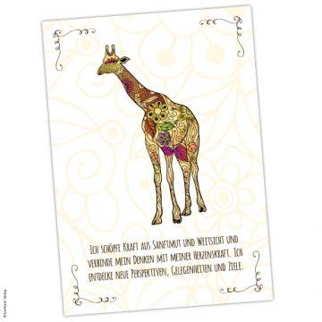 Krafttier Giraffe Karte und Affirmation
