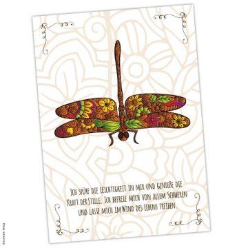 Krafttier Libelle Karte und Affirmation