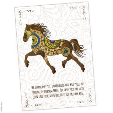 Krafttier Pferd Karte mit Affirmation