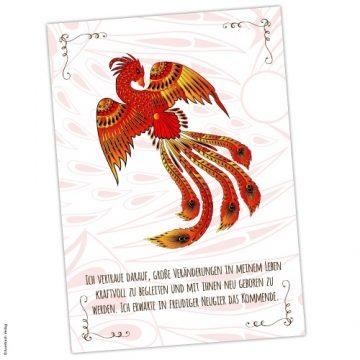 Krafttier Phoenix Karte mit Affirmation