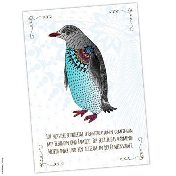 Krafttier Pinguin Postkarte mit Affirmation
