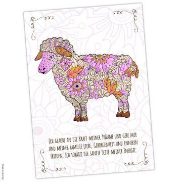Krafttier Schaf Postkarte mit Affirmation