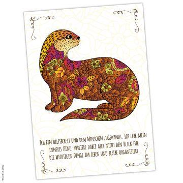 Krafttier Otter Postkarte mit Affirmation
